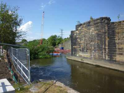 This massive pillar by Knostrop Fall Lock was built to support a railway swing bridge - it would have been massive but was never built...