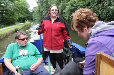 Why am I smiling? Well, I'm on the helm on a fine canal with good company and I'm enjoying greyhound cuddles - what's not to like eh?