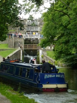 View from the bottom of the Bingley Five Rise (courtesy of Iain fron nb Destiny)