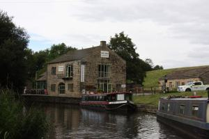 Sturdy and attractive canalside cafe and service block at Foulridge...