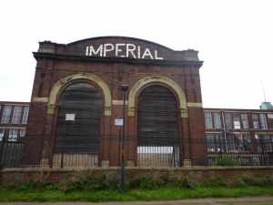 The frontage of the vast Imperial Mill building...
