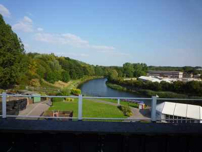 I will never tire of this view from the top of the Anderton; the canal was where we needed to be, but I was sad to leave the Weaver...