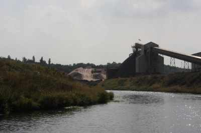 Although the river is quiet, the local salt industry is still busy...