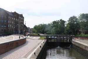 Looking towards Tonbridge town moorings from Town Lock...