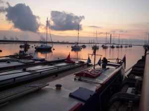 A fine raft of narrowboats...