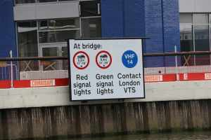 New signage on Bow Creek - it's because of the new bridge with its restricted headroom at high tide...
